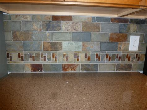 slate backsplash kitchen kitchen remodel slate tile backsplash with accents www