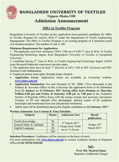 Brac Mba Admission Notice by Admission Open Mba In Textiles Butex