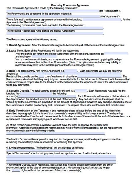 free printable lease agreement for roommates free kentucky sublease roommate agreement form pdf template
