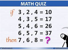 If 3, 2, 4 = 10 Then 7, 6, 8 = ?? Solve this Simple Math ... Maths Quiz Questions With Answers For Class 10