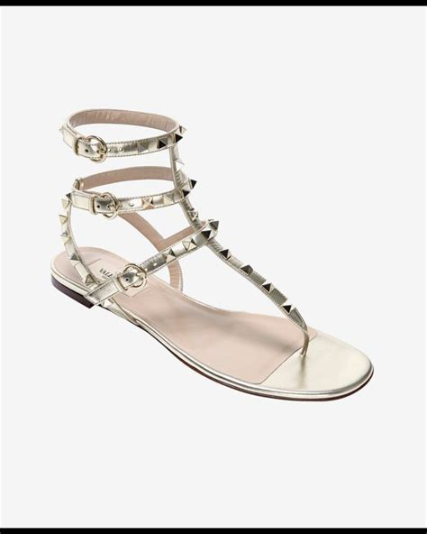 Flat Sandal Pita Silver valentino rockstud gladiator flat sandal silver in metallic lyst