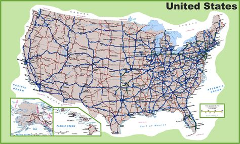 united states map with cities and roads usa road map