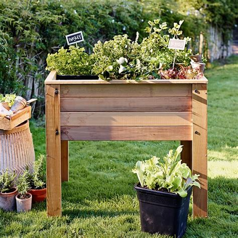 Foot Planters by Square Foot Raised Bed Planter Williams Sonoma