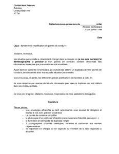 Exemple gratuit de Lettre demande modification permis