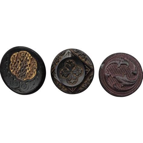 Three Buttons buttons three related vintage black glass buttons from