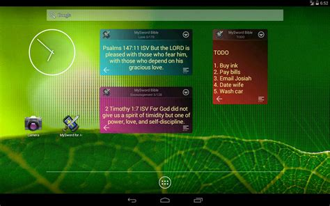 tablet widgets mysword free android bible features