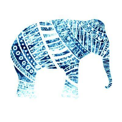 black and white elephant pattern blue elephant found on turquiose stones tumblr animals