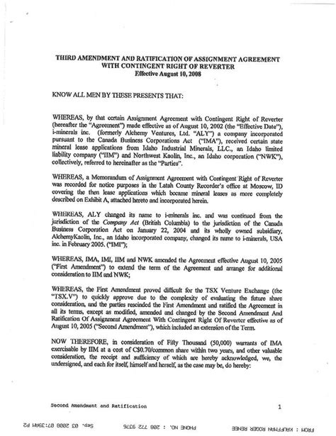 section 32 contract contract by i minerals inc