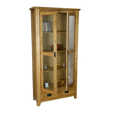 Display Cabinets With Glass Door 50 Rustic Oak Display Cabinet Unit With Glass Doors Westbury