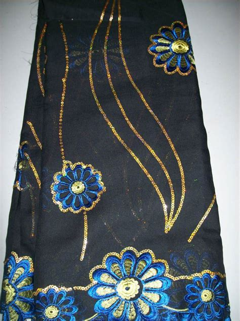 blue and gold african lace 5 yards sheer cotton african lace black blue and gold