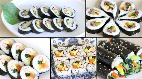 how to make gimbap kimbap 6 authentic variations 4 crazy fusion variations youtube