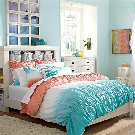 coral themed bedroom dip dye ruched duvet cover sham coral capri the