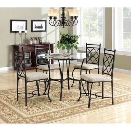 walmart dining room sets mainstays 5 glass top metal dining set walmart com