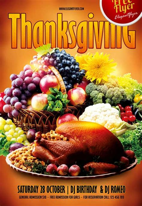 Download Free Thanksgiving Party Psd Flyer Template Free Printable Thanksgiving Flyer Templates
