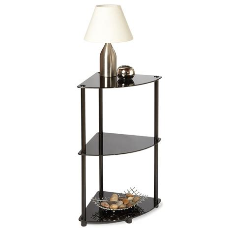 Black Glass Triangle Small Corner End Table With Black Small Corner Shelves