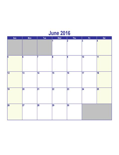 Calendar For June 2016 June 2016 Calendar Template Free