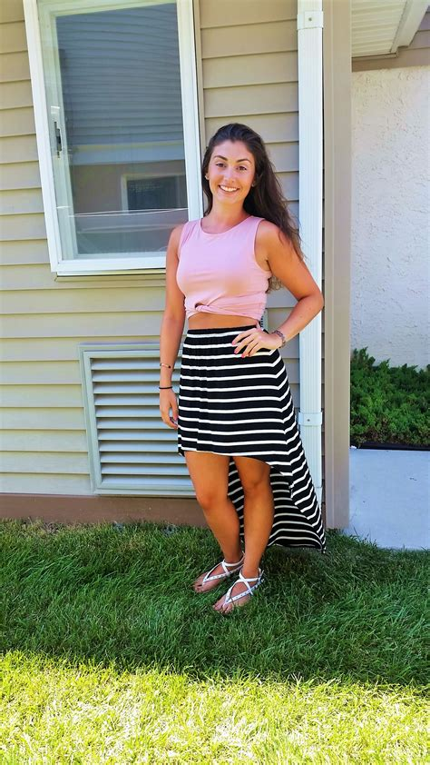 forever 21 striped high low skirt pink crop top