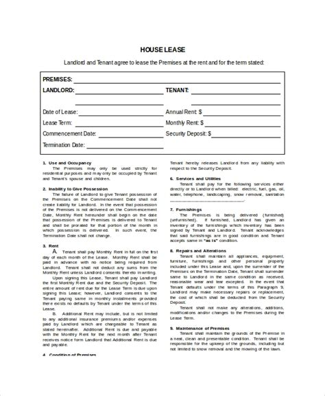 House Lease Template 7 Free Word Pdf Documents Download Free Premium Templates Standard Lease Template