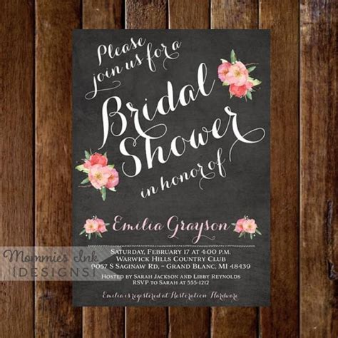 diy chalkboard bridal shower invitations chalkboard bridal shower invitation floral bridal shower