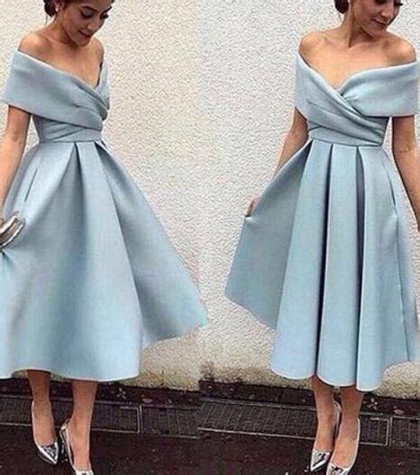 light blue tea dress light blue tea length shoulder evening gowns