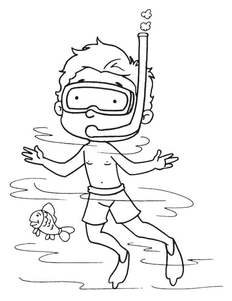 Printable Scuba Diver Coloring Pages by Diver In The Sea Coloring Page Free Diver In