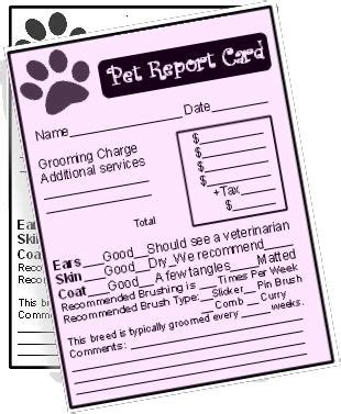 Free Pet Report Cards Dog Grooming Pinterest Free Dog And Grooming Salon Walking Report Card Template