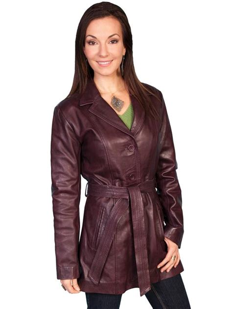 scully ladies leather jacket car coat wine sale