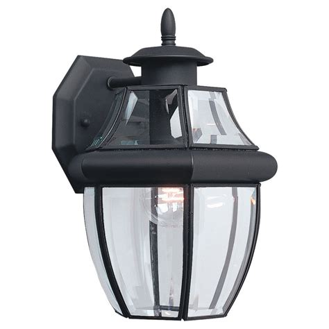 porch light fixtures lowes shop sea gull lighting 12 in h black outdoor wall light at