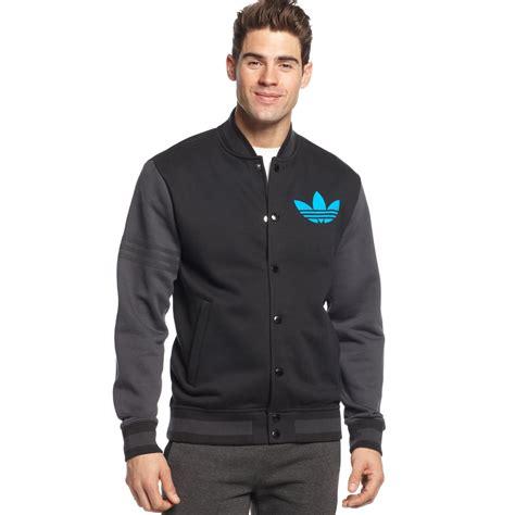 Remix Jacket adidas originals varsity remix fleece jacket in blue for black solar blue lyst