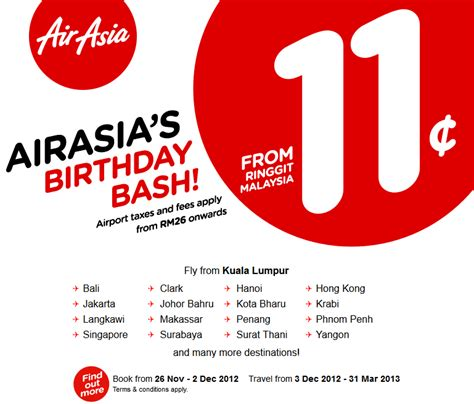 airasia promo tiket exciting airasia 11 cents air tickets promotion