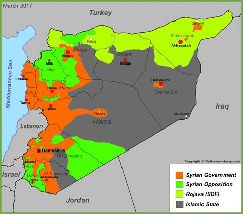 where is syria on the map syria war map march 2017