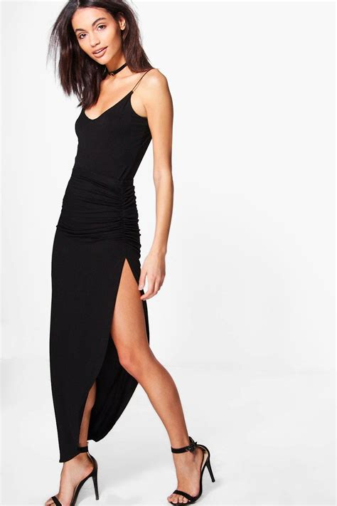 Cotton Top Skirt Black 775506 micha ruched side jersey maxi skirt at boohoo