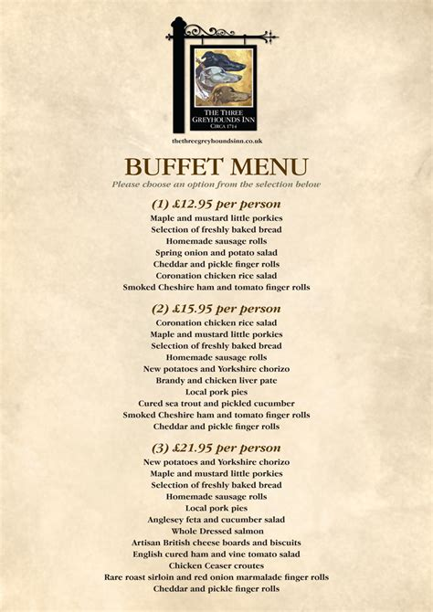 buffet menu buffet menu the three greyhounds pub cheshire