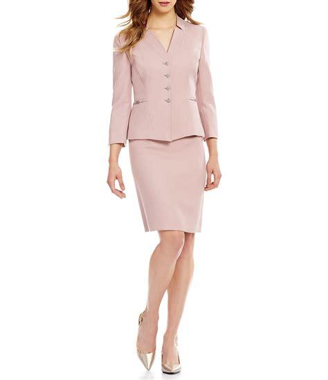 tahari asl starneck button front skirt suit dillards