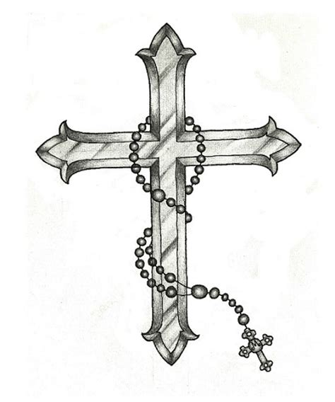 cross with rosary cross with rosary drawing www imgkid the image kid