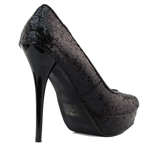 Platform High Heel Glitter Pumps high heel glitter stilettos toe platform pumps