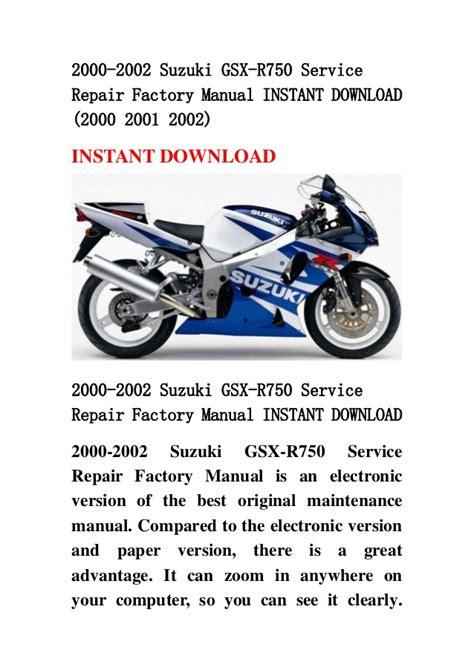 2000 2002 Suzuki Gsx R750 Service Repair Factory Manual