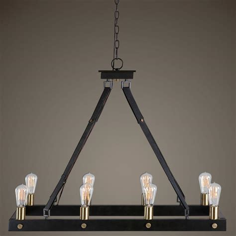 Toledo Industrial Loft Antique Bronze 8 Light Edison Edison Chandelier