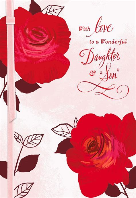Two Roses Valentine's Day Card for Daughter and Son in Law