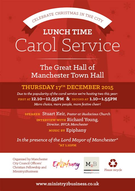 Lunchtime Carol Service Manchester Town Hall Caroling Flyer Template