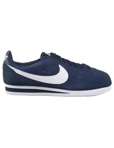 nike cortez leather shoes midnight navy white trainers