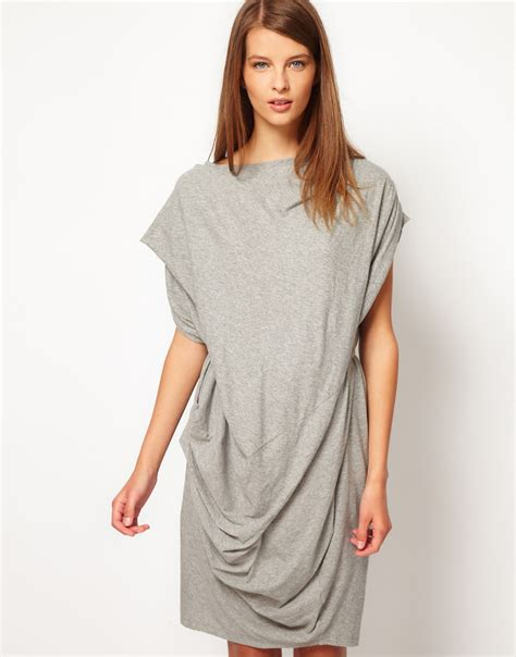 Gray Fold Smlxl Dress 24582 lyst jnby jersey dress with fold drape in gray