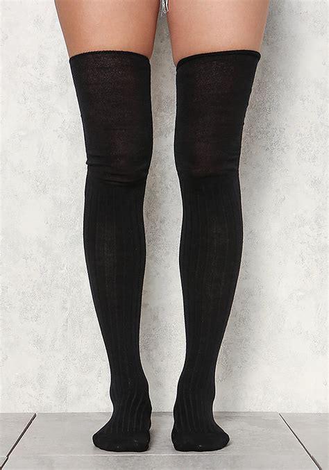 knit thigh high socks black ribbed knit thigh high socks