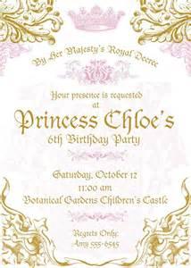 royal princess invitations set of 10