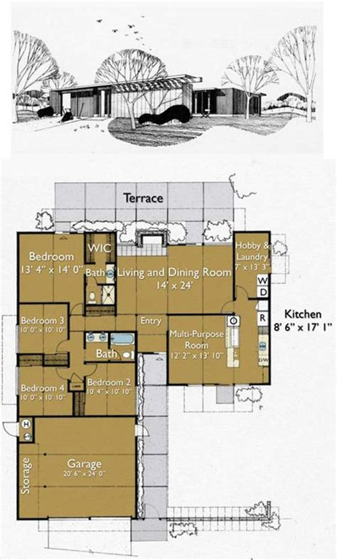 eichler homes floor plans eichler house plan csal 225 di h 225 z pinterest