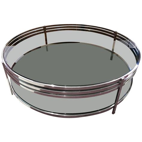 Coffee Table Tempered Glass Contemporary Tempered Glass Coffee Table With Polished Steel Frame For Sale At 1stdibs