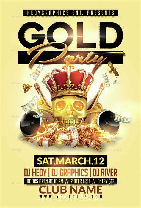 King S Gold Party Flyer Template By Hedygraphics Graphicriver Gold Flyer Template