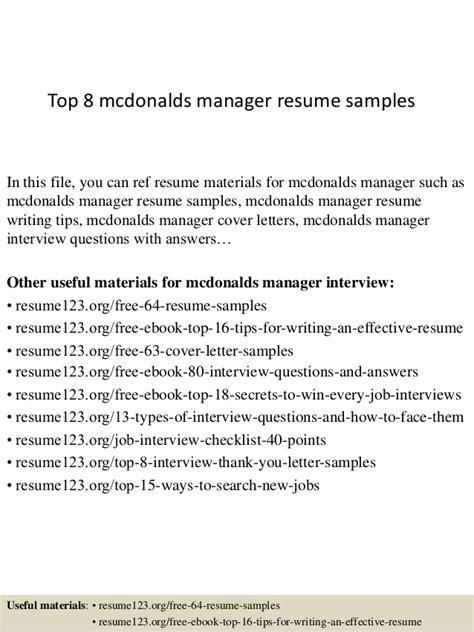 Mcdonalds Resume by Top 8 Mcdonalds Manager Resume Sles