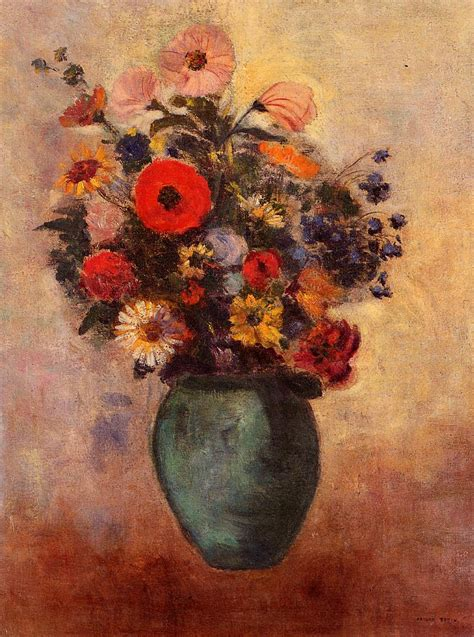 Flowers In Vase Paintings by Vase Of Flowers Odilon Redon Wikiart Org