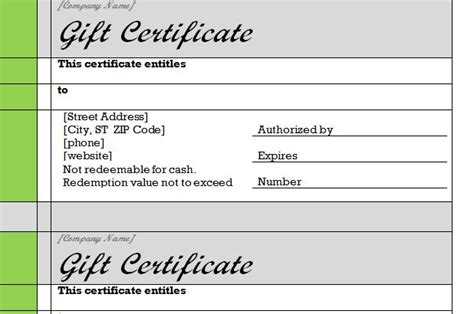 gift certificate template for word free restaurant gift certificate templates
